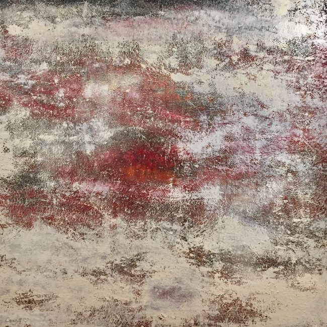 Brume Carmin - Huile, 150x150 cm